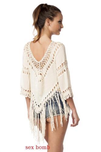 Hippy Blouse Beige Copricostume Taglia Unica Moda l m Sexy Frange Camiseta Xs s gdTwx7q
