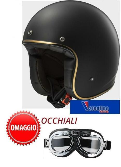 CASCO JET LS2 BOBBER VINTAGE OF583 MATT BLACK OPACO IN FIBERGLASS MIS. L