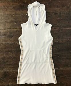 BURBERRY-London-Womens-Towelling-Tennis-Dress-Nova-Check-Hooded-Small-White