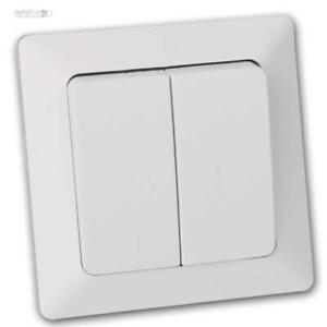 Milos-Interruptor-Blanco-Mate-con-Marco-Enlucido-Inferior-Doppelschalter-230v