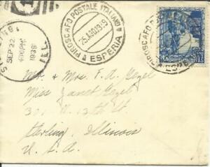 Italy Sc#406(single frank) PIROSCAFO POSTALE ITALIANO-ESPERIA 25/AGO/1939 to USA