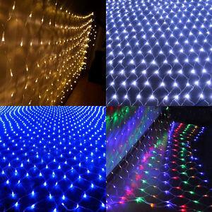 Cadena-De-Luces-LED-Hada-Cortina-De-Malla-Red-Boda-Diversion-Fiesta-vacaciones-al-aire-libre-de