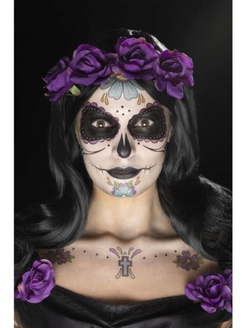 Día de los Muertos Cara Tatuaje Transfers Kit de Disfraz de Halloween