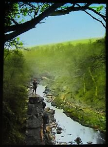 TINTED-Glass-Magic-Lantern-Slide-EAGLE-CRAG-BOLTON-WOODS-DATED-1910-PHOTO