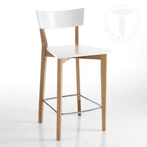 Sgabelli In Legno Design.Dettagli Su Sgabello Kyra Legno Massello Rovere Bianco Opaco Cucina Bar Moderno Design