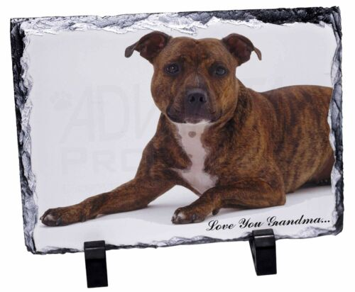 Staff Bull 'Love You Grandma' Photo Slate Christmas Gift Ornament, ADSBT6lygSL