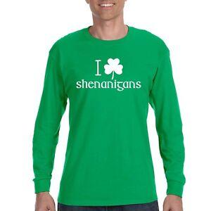 9bde9aa8 Mens St. Patrick's Day I Love Shenanigans Irish Clover Beer Long ...