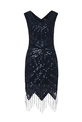 Aggressiv 1920s Art Deco Sequin Flapper Downton Great Gatsby Charleston Dress Navy 8 - 24