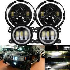 4pc 7 Led Headlight Amp 4 Fog Light Combo Kit For Jeep Wrangler Hummer H1 H2 H3