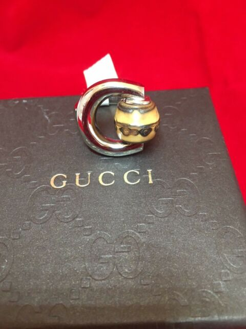 63514879c AUTHENTIC GUCCI 18 KT GOLD HORSEBIT BAMBOO SILVER RING YBC23605600101