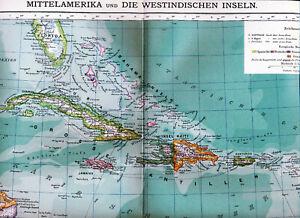 Details about Central America 1900 orig. atlas map Antilles Cuba Jamaica  Bahamas Panama Belize