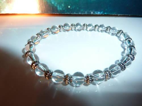 BRACELET QUARTZ cristal de roche/&argent du tibet Reiki