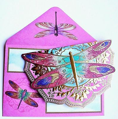 PUNCH STUDIO POUCH NOTE CARDS MINT GREEN LAVENDER DRAGONFLY FLOWERS