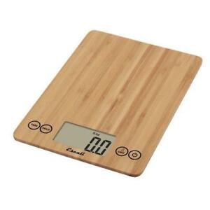 - New - Escali Scales - Scdg15bbr - 15 Lb Bamboo Arti Glass Digital Scale