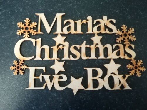 Wooden Personalised Christmas Eve Box And Topper Any Name Possible