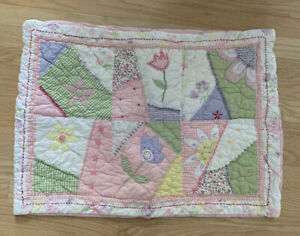 Pottery-Barn-Kids-Quilted-Standard-Pillow-Sham-Pink-Pastel-Flowers-Patch-20-X-27