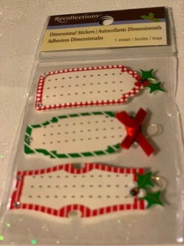 RECOLLECTIONS 3D STICKERS CHRISTMAS TAGS RARE STICKERS