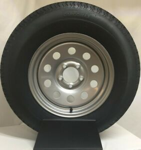 Load C 5 Lug Silver Modular 2-Pk Radial Trailer Tire On Rim ST205//75R15 15 in