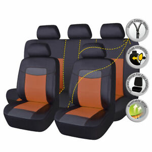 Black-Brown-Deluxe-Car-Seat-Covers-Set-PU-Leather-Fit-Universal-Auto-Protectors