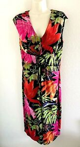 Joseph-Ribkoff-Dress-Black-Multi-Color-Floral-Print-Ruched-Sleeveless-Size-10