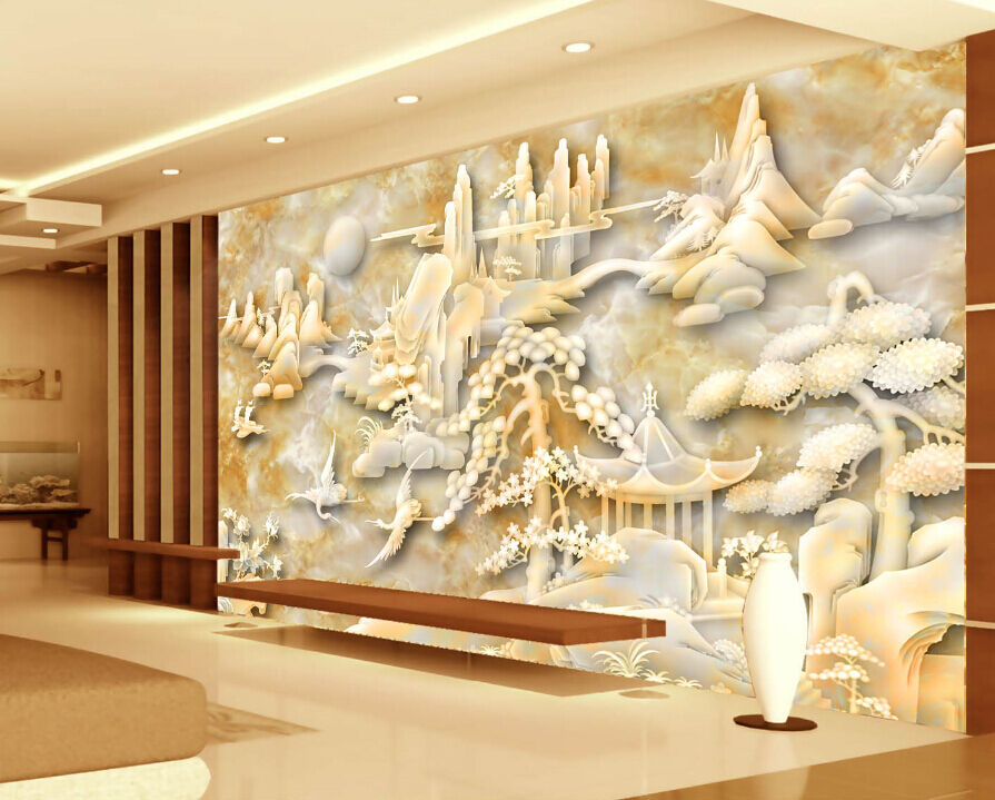 3D Jade Mountain Forest Paper Wall Print Decal Wall Wall Murals AJ WALLPAPER GB