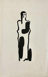 Gustav Heinrich Wolff (1886-1934) taglio di legno, sconto-timbro, personaggio femminile