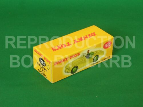 Caja de reproducción por drrb amarillo Dinky #105 Triumph TR 2 Deportes