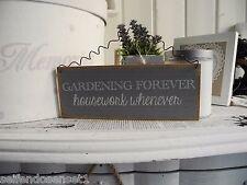 Garten for ever shabby Schriftzug Holzschild Schild Schrift Spruch grau Holz 036