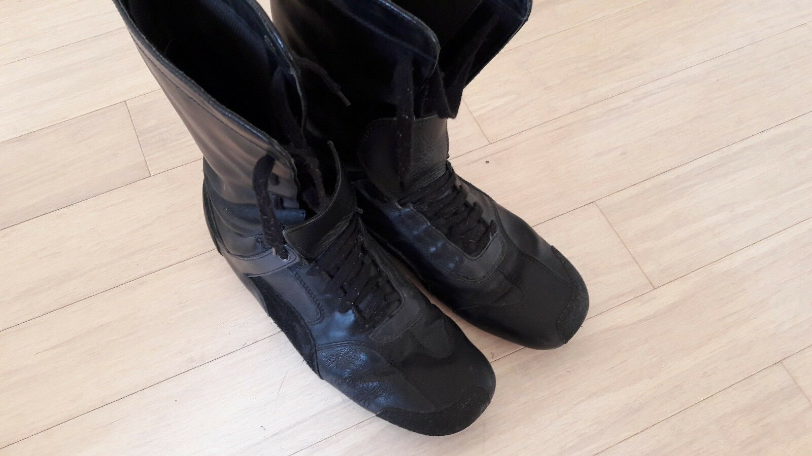 Puma By Neil Barrett Noir Leather Bottes RARE VINTAGE / Made In Italy