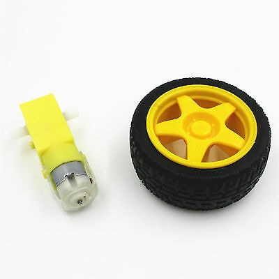 2PCS Arduino Smart Car Robot Plastic Tire Wheel with DC 3-6V  Gear Motor
