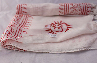 White OM Prayer Yoga and Meditation Cotton Shawl
