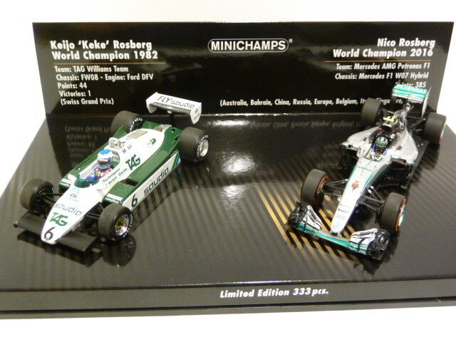 Minichamps Williams FW08 & Mercedes AMG W07 F1 Keke & Nico Rosberg Set 412821601