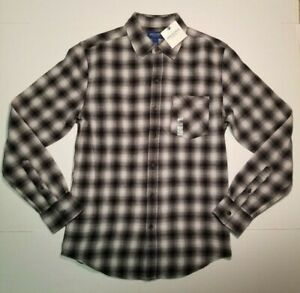 Arizona-Jeans-Mens-Long-Sleeve-Flannel-Shirt-S-or-M-Black-Gray-Ombre-NWT-FAST