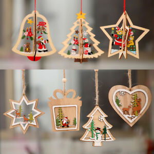 image is loading christmas tree decoration 3d wooden pendant hanging xmas - Hanging Christmas Decorations