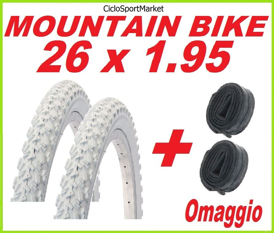 2 x Copertone 26 X 1.95 BIANCO  bici MOUNTAIN BIKE + 2 x CAMERA D'ARIA OMAGGIO