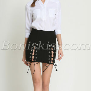 Women-039-s-Sexy-Punk-High-Waisted-Bandage-Skirts-Short-Bodycon-Mini-Lace-up-Skirt