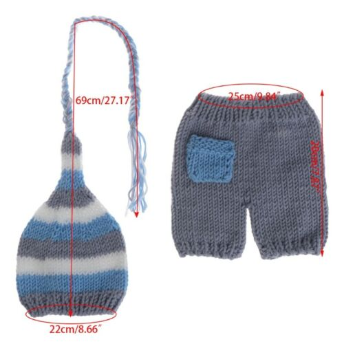Cute Handmade Crochet Costume Knitted Hats Pants Set Newborn Photography Props