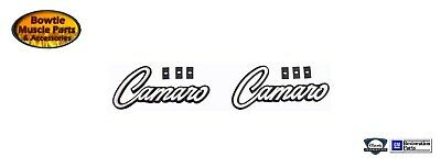 """1968 1969 68 69 /"""" Camaro /"""" Deluxe Door Panel Emblems  OER  PAIR 7754200 New"""