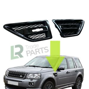 LAND ROVER FREELANDER 2 NEW GLOSS BLACK SIDE WING VENTS AIR INTAKES UPGRADE