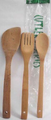 3 Set Salatbesteck Salatgabel Salatlöffel Set aus Bambusholz