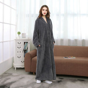 Ladies Zip Up Soft Fleece Dressing Gown Zipped Robe With Satin Trim