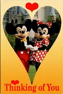 Vintage-Color-Postcard-Disney-Thinking-of-You-Mickey-and-Minnie-With-Love-Z1