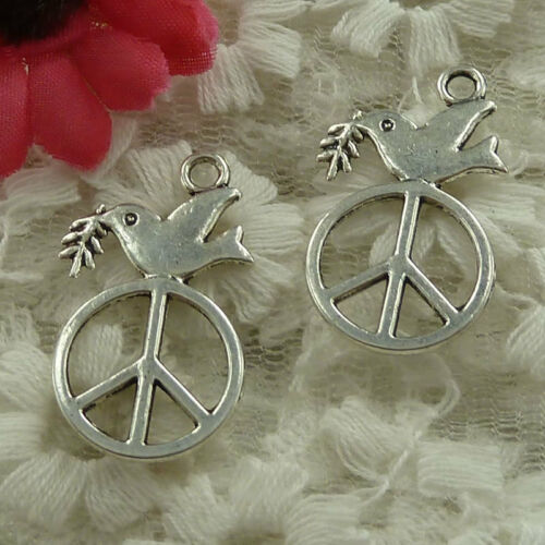 Free Ship 50 pieces argent antique Paix Colombe Charms 29x17mm #3043