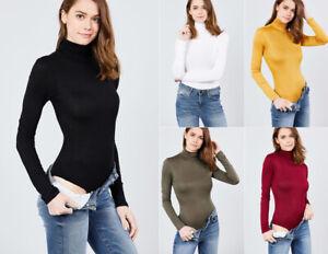 Women-039-s-Mock-Turtle-Neck-Bodysuit-Stretch-Knit-Long-Sleeve-Solid-Plain-Basic-Top