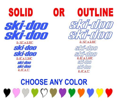 SKI DOO ski-doo sticker decal snowmobile snomobile  ANY COLOR
