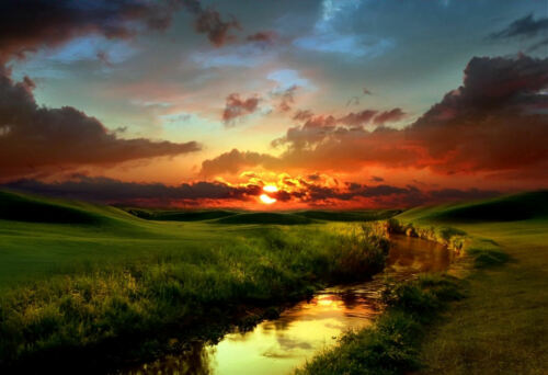 Large Framed Print Red Countryside Sunset Picture Poster Landscape Scenic