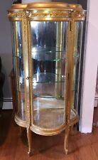 Gold Giltwood French Style Curio China Cabinet Antique Bowed Curved Glass Paine