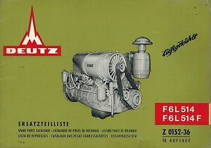 Details about DEUTZ F6L514 514F ENGINE SPARE PARTS MANUAL