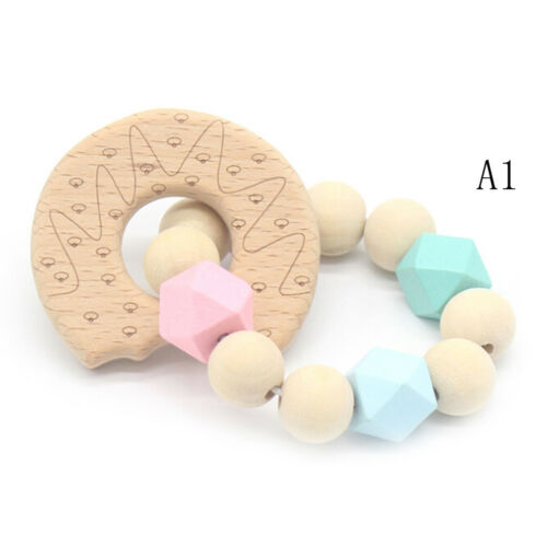 Baby Wooden Teether Animal Shape Chew Beads Teething Toys Baby Nursing✔UK FG