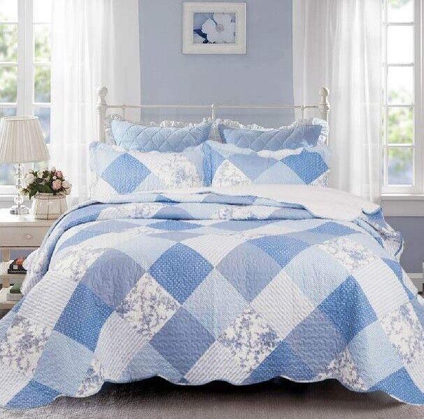 3 Piece Reversible Coverlet Bedspread Quilt Patchwork Set Soft Twin Queen King
